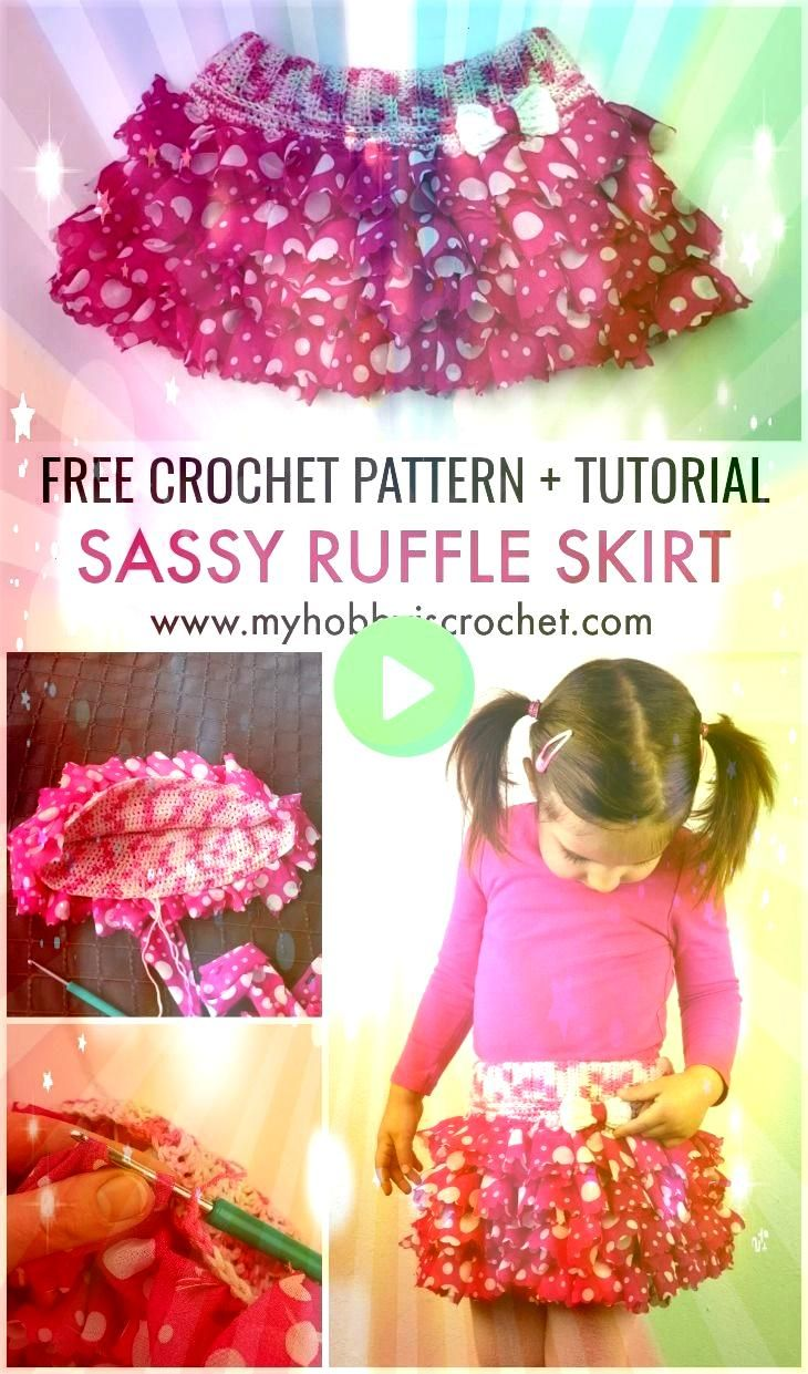 adorable ruffle skirt with elasticized waistband is made with Red Heart Boutique Sassy Fabric yarn crocheting the ruffles and the inner skirt l  Häkeln This adorable...