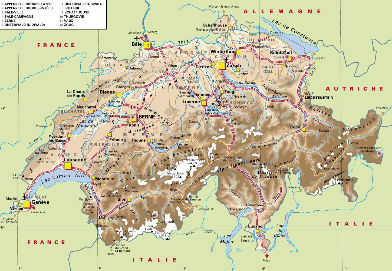 Cantons of Switzerland | Carte Suisse, histoire, patrimoine, documents en ligne LEXILOGOS ...