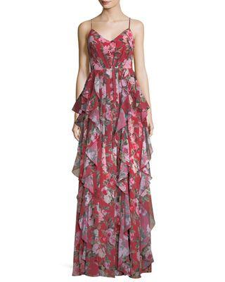 Fame   Partners Queen Anne Floral Ruffle Crisscross Dress ... 28e602ceb8696