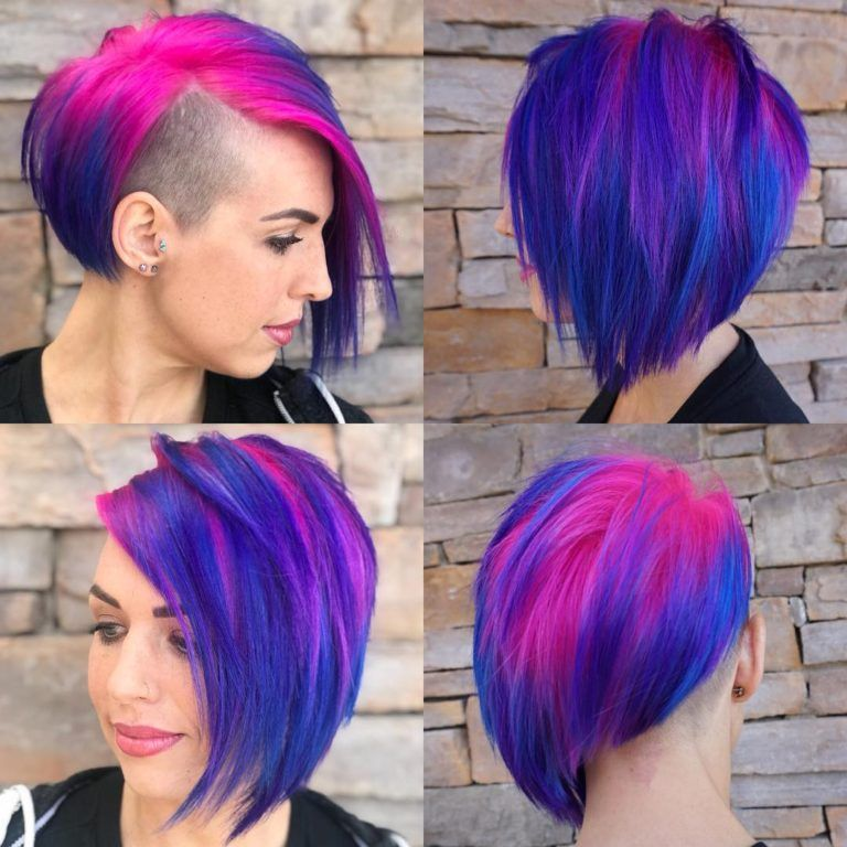 Asymmetrical Undercut With Side Swept Bangs And Vibrant Pink And