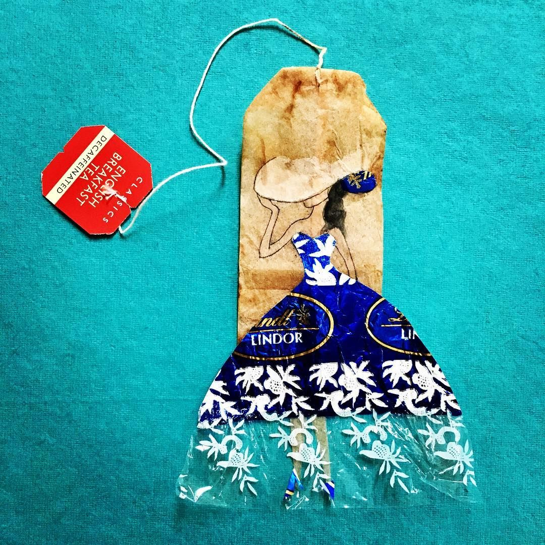 40 Days of Art/35 Easter candy wrapper flapper @lindt_chocolate #creativelent2017 #twiningstea #LindtLove