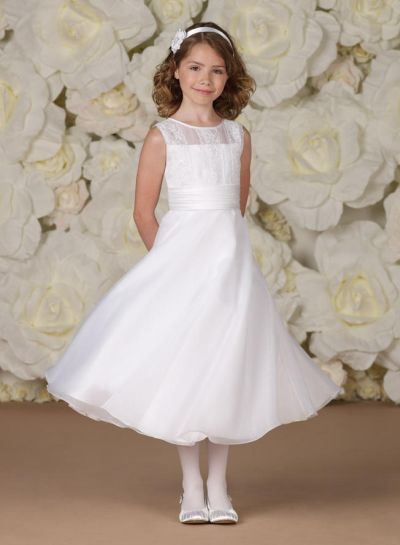 3b71b0af8380 Sleeveless organza, satin and lace tea-length A-line girl's dress with  illusion jewel neckline, bodice accented with three wide lace appliqué  bands in front ...