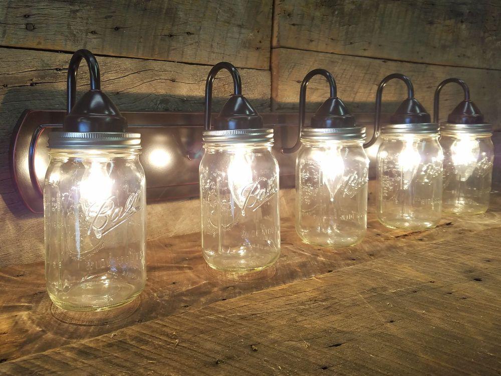 Details about Mason Jar Light 5 - Light Dark Oil Rubbed Bronze ...