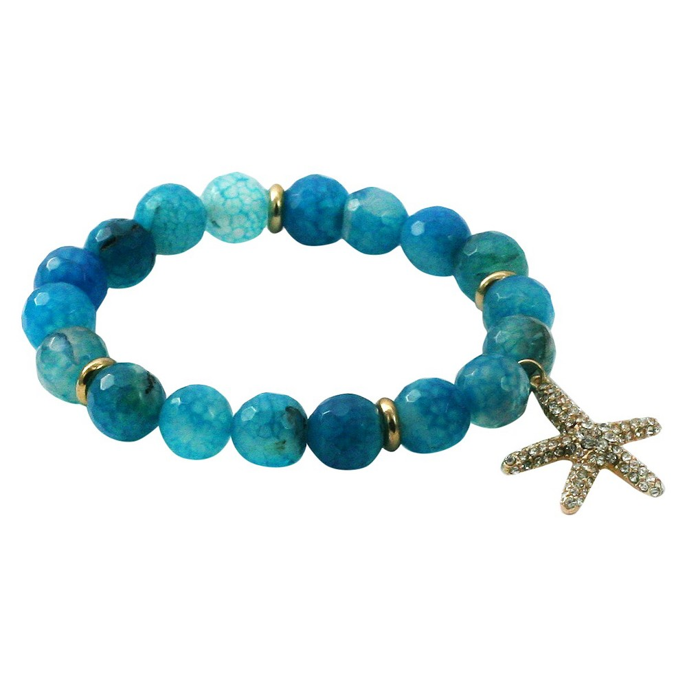 Women's Zirconite Starfish Charm Faceted Colored Stones Stretch Bracelet-Blue, Blue