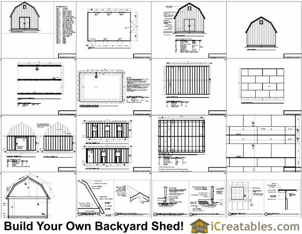 16x24 Gambrel Shed Plans 12x16 Barn Shed Plans Shed Plans 12x16 Shed Plans Diy Shed Plans