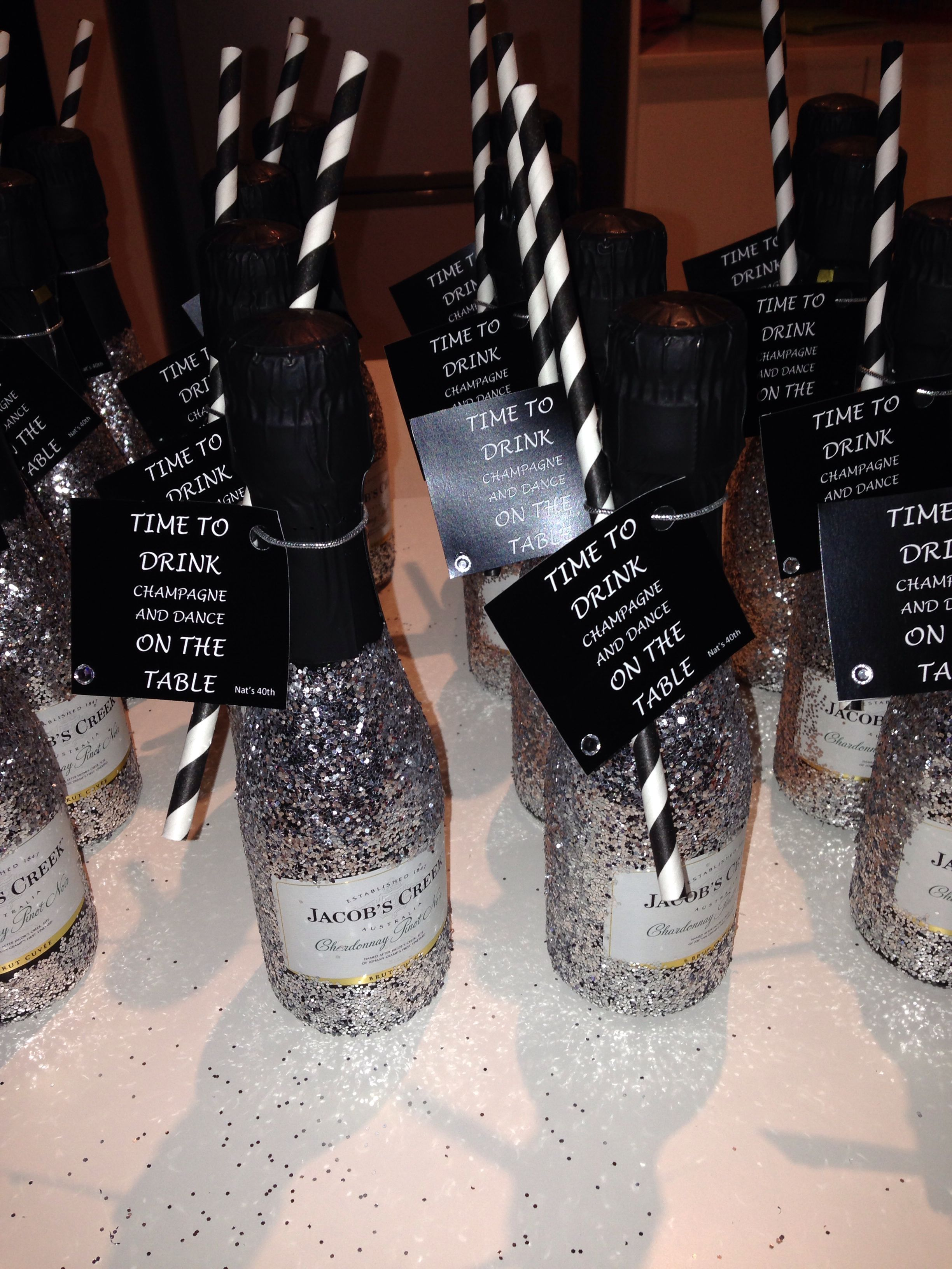 40th birthday party favours! mini champagnes! amazing and easy