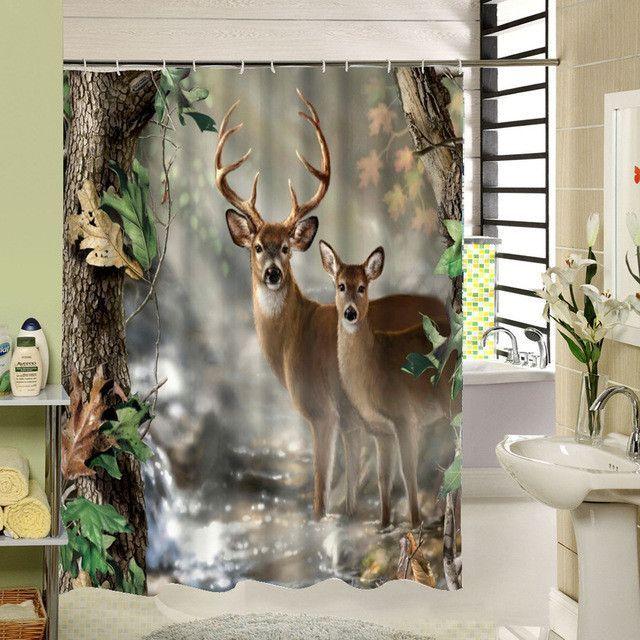Curious Deer Shower Curtain Hooks