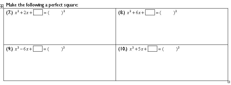 Completing the Square... worksheets that guide students to discover ...