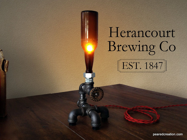 Industrial Beer Lamp   Bottle Lighting   Man Cave   Steampunk Furniture    Desk Lamp.