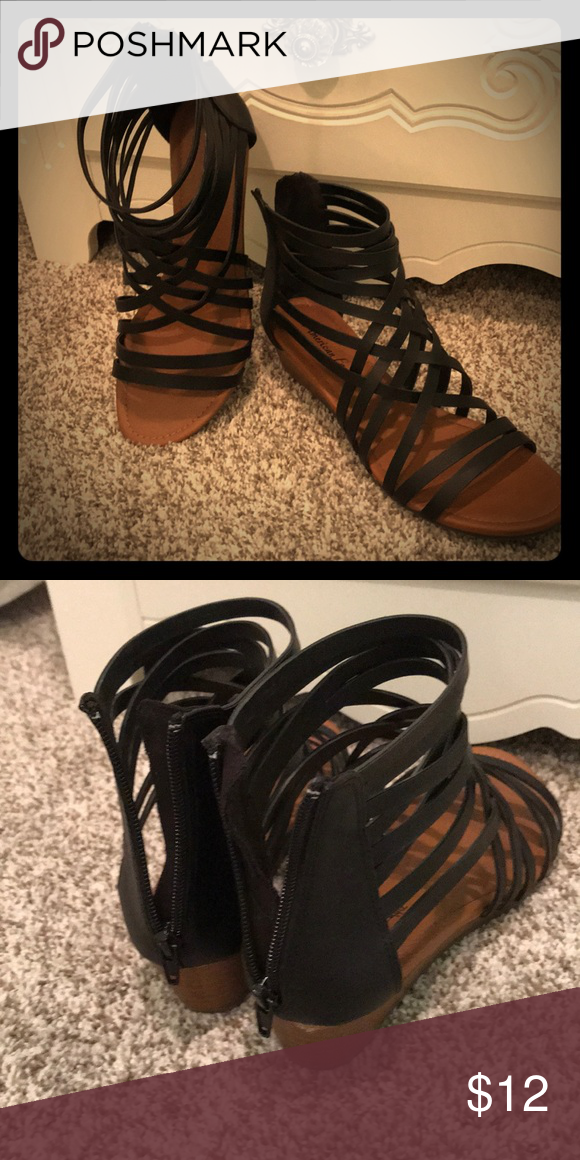 df607f5564 American Eagle black strappy wedge sandals •zippers work •very slight damage  on right heel American Eagle By Payless Shoes Sandals