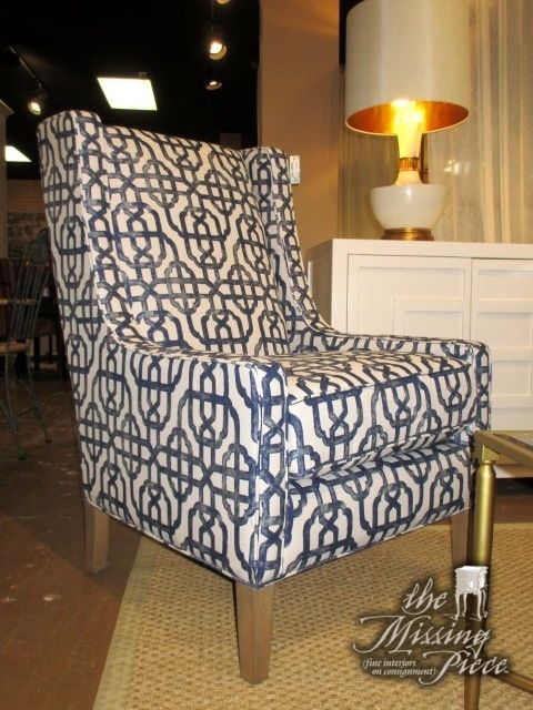 Strange The Kobill High Back Accent Chair In A Blue White Trellis Bralicious Painted Fabric Chair Ideas Braliciousco