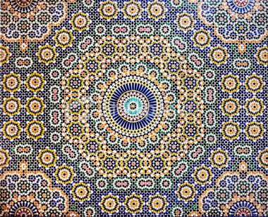 A traditional Moroccan mosaic pattern tiled wall in the Glaoui