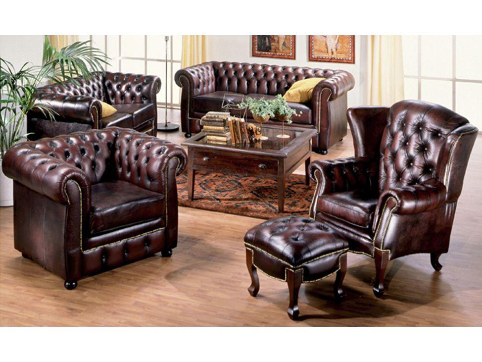 CHESTERFIELD Fåtölj Antik Läder i gruppen Inomhus Stolar Fåtöljer hos Furniturebox (100 22