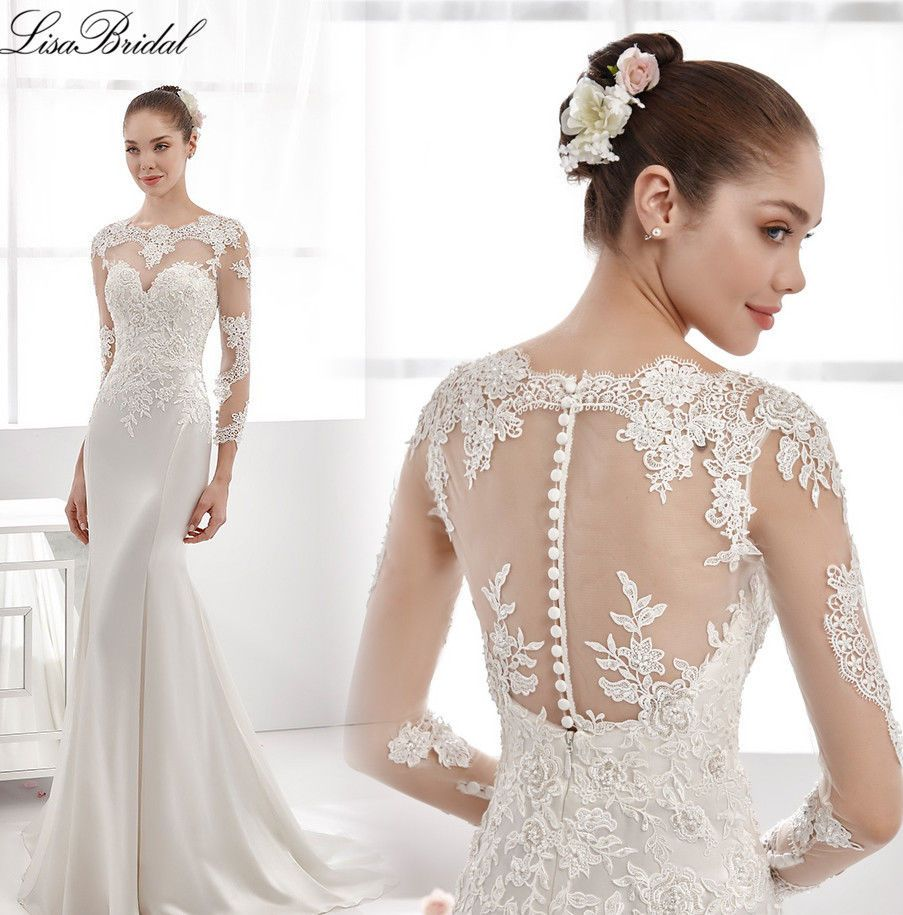 Long sleeves sweep train wedding dress bridal gown regular and
