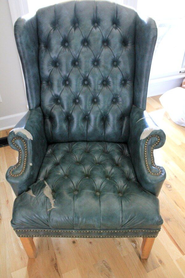 Reupholstering A Wingback Chair A No Sew Method Reupholster
