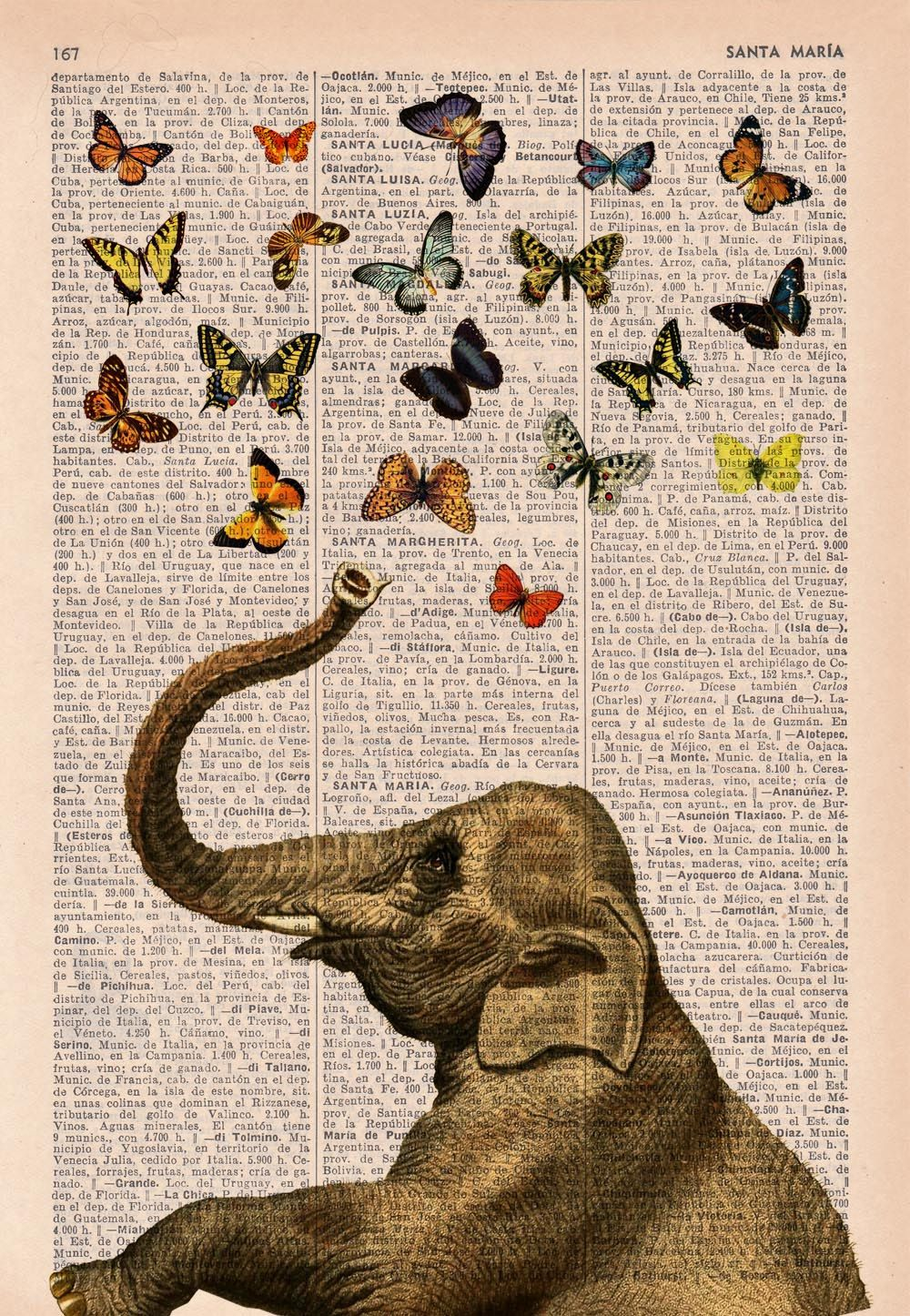 Elephant In Love Counting Butterflies Wall Art