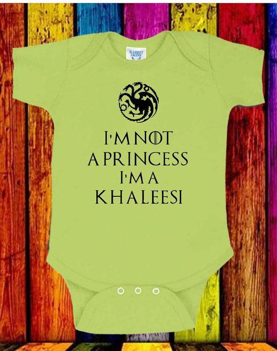Funny Cute I'm Not A Princess I'm A Khaleesi Onesie Game of Thrones Girls Onesie Geek Gift Idea Sizes Newborn 6M 12M 18M 24M 7 Color Choices