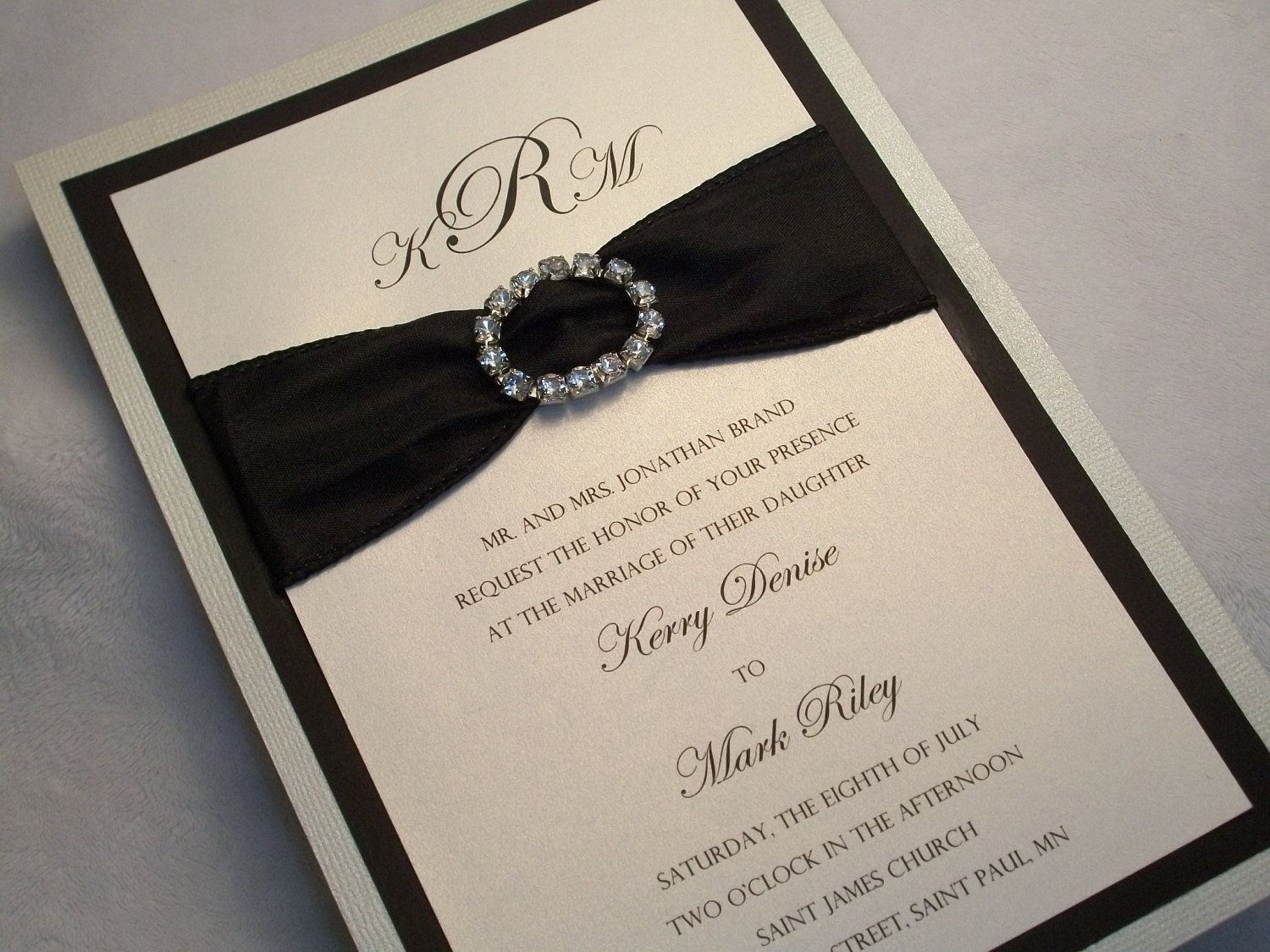 Pearl White and Black Wedding Invitation with Crystal Buckle and ...