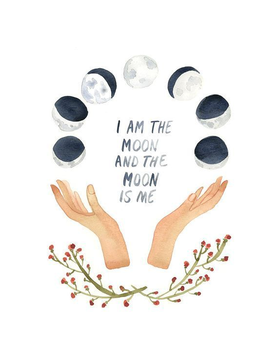 I Am The Moon Art Print, Moon Phases, Wall Art, Watercolor Print, Cosmos, Full Moon