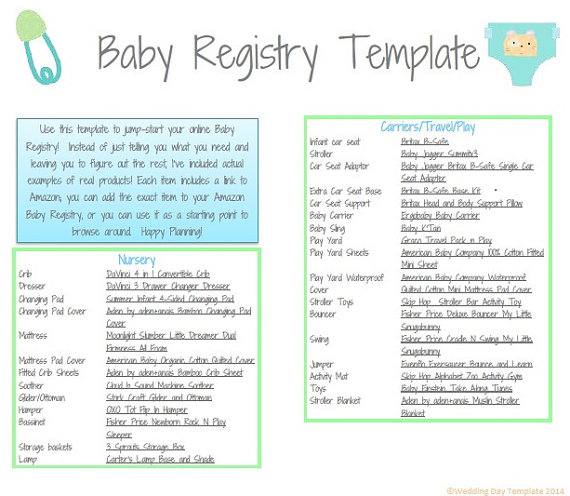 PRINTABLE - Baby Registry Template Babies Pinterest Baby