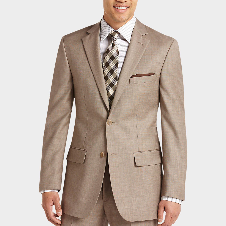 Pict j ferrar modern fit 1 - Pronto Uomo Tan Sharkskin Modern Fit Suit Modern Fit Trim Men S Wearhouse
