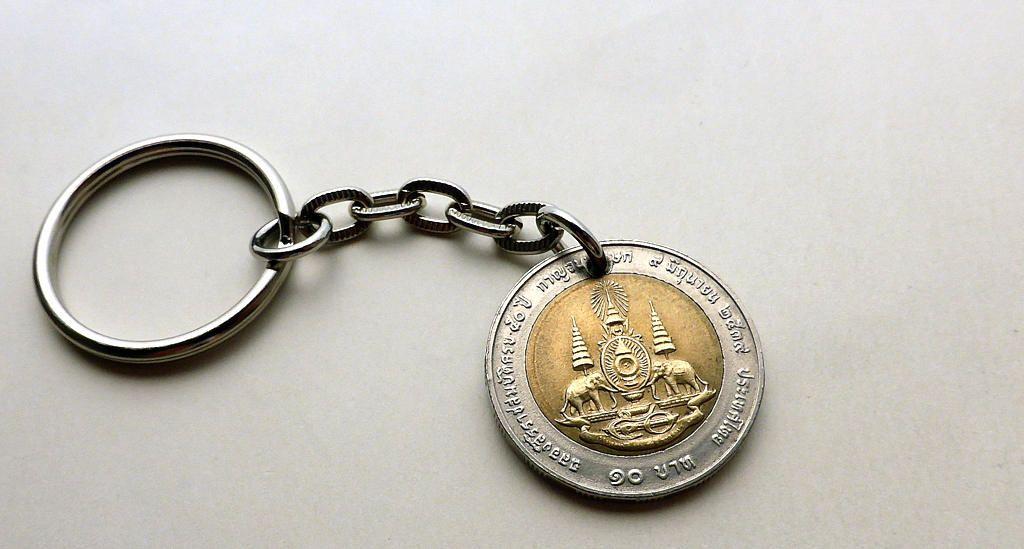 Thailand Coin Keychain Elephant Charm Buddhist Charm Hindu