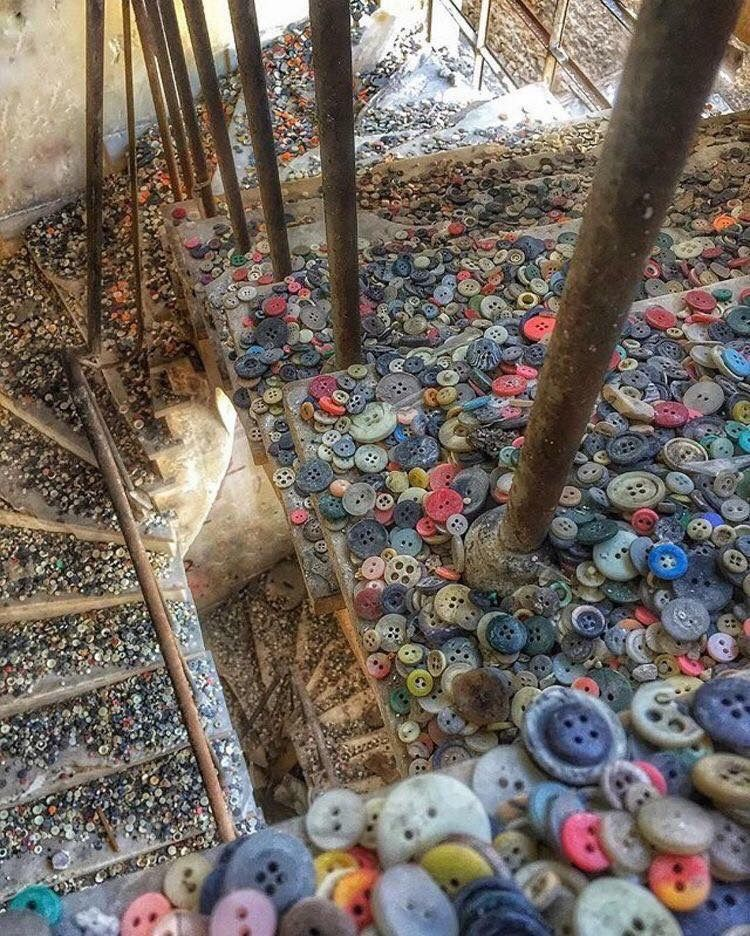 The Stairwell Of An Abandoned Button Factory. Photo