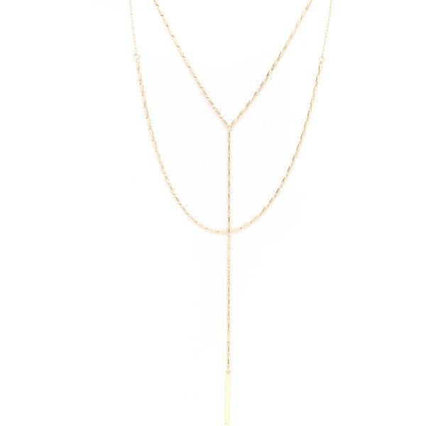 ec26ad869 South Moon Under Box Chain Multi Layered Y-Necklace ($28) ❤ liked on Polyvore  featuring jewelry, necklaces, gold, gold jewelry, double layer necklace, ...