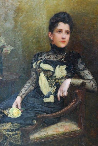 Alice Kaub Casalonga Portrait Of A Woman With Yellow Rose