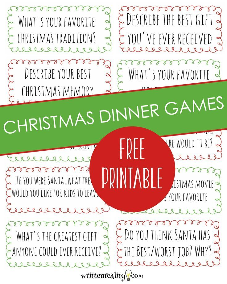 Celebrate This Year With A Free Christmas Dinner Game Written Reality Dinner Games Christmas Dinner Party Games Christmas Dinner