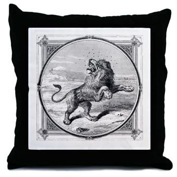 Vintage Throw Pillow  Lovely antique image of a lion fighting off a swarm of insects.        $20.00