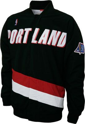 new arrival 66019 fbdf2 Trail Blazers Black Mitchell   Ness Authentic Warm Up Jacket