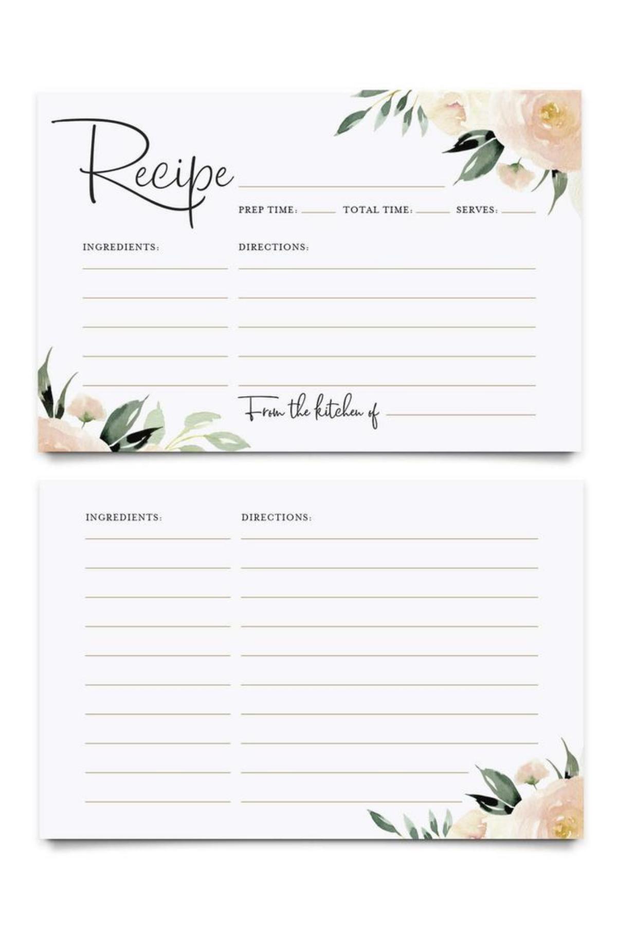 Greenery DIY Recipe Card Recipe Card Printable Printable Recipe Card Bridal Shower card 4x6 Bridal Shower Recipe Card