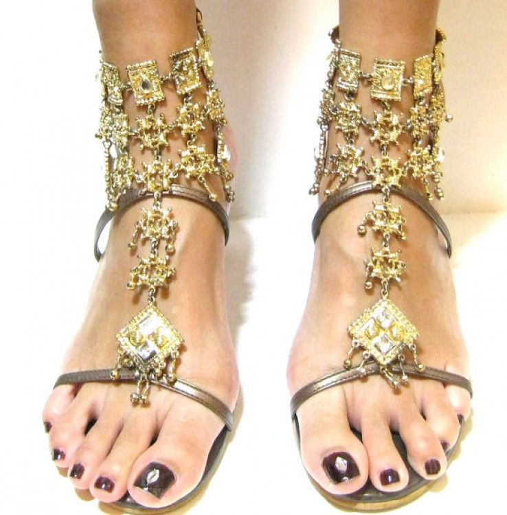 4aeded298eaa Sexy Gold Egyptian Beaded Jeweled sandals
