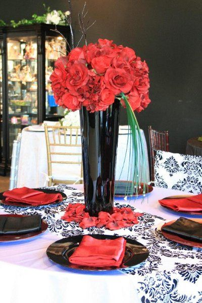 Wedding Flower Photos Red And Black Centerpiece