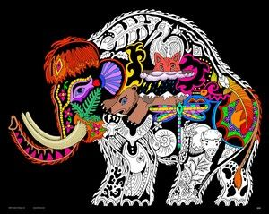 Wooly Mammoth - 16x20 Fuzzy Velvet Coloring Poster Inner Nature ...