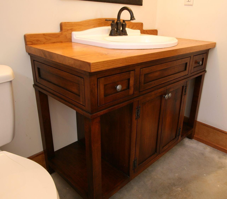 Custom Made Custom Wood Bath Vanity With Reclaimed Sink