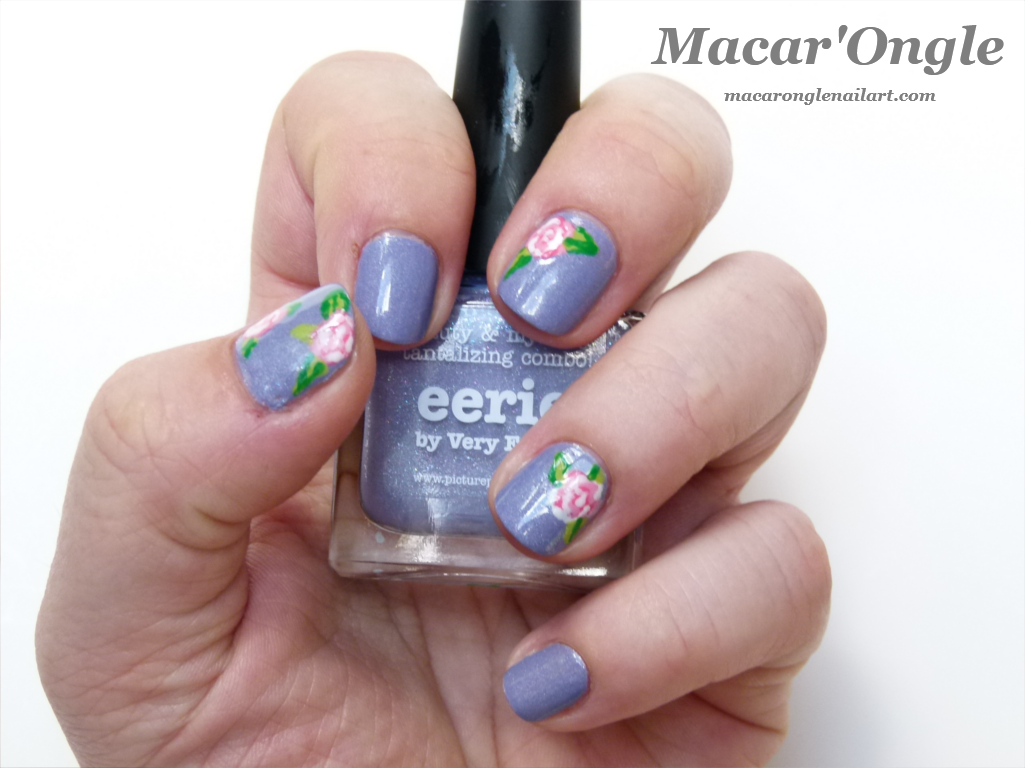 Romantic pink and lilac roses nailart (Eerie by Picture Polish)