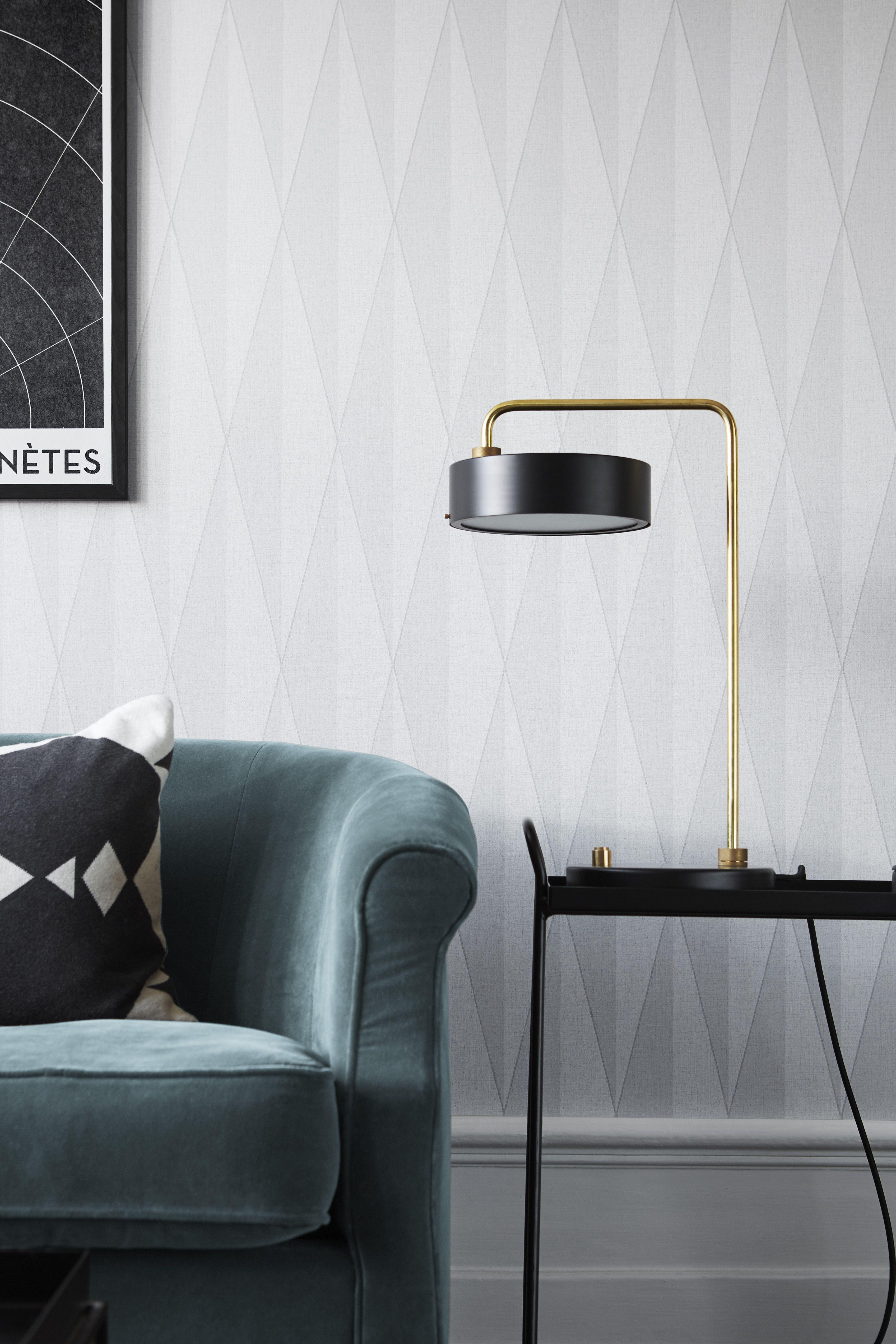 H Zack Grey Diamond Geometric Wallpaper Sample Black