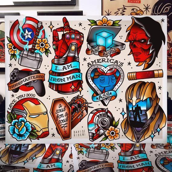 Avengers Endgame Tattoo Flash Art Print