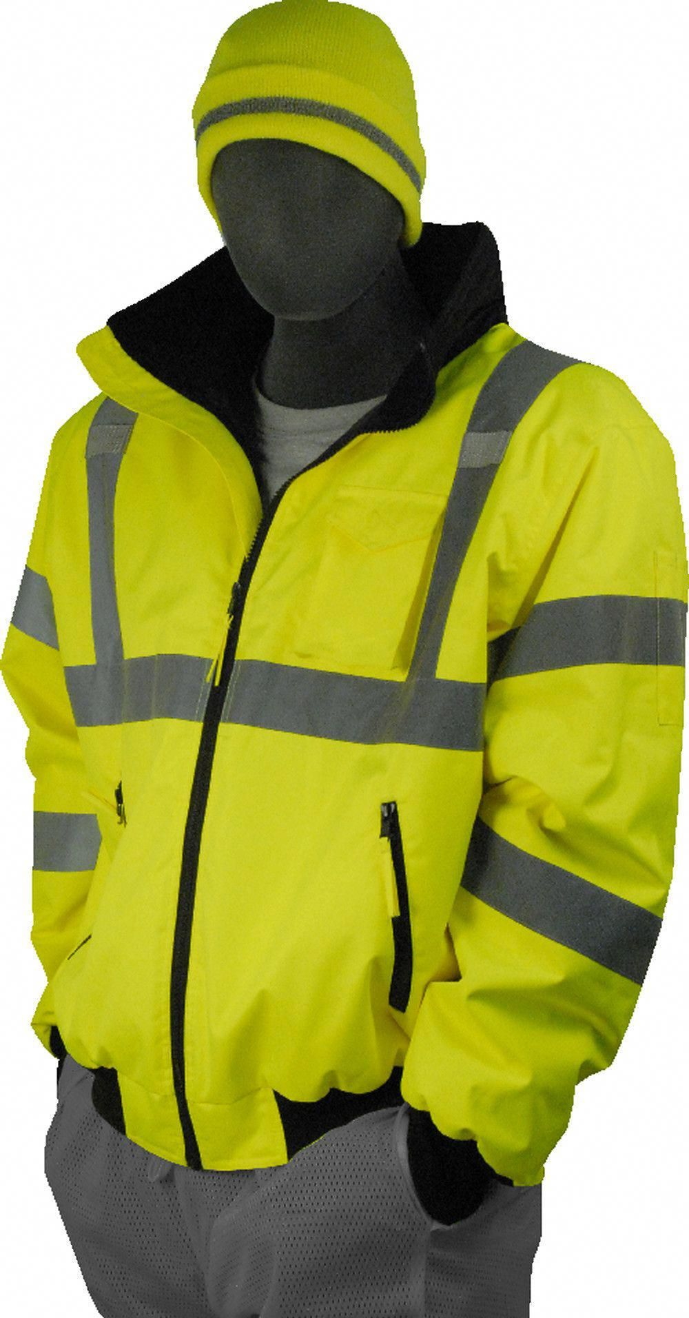 Majestic 75 1300 Hi Vis Yellow Bomber Jacket Ansi Class 3 Fixed Liner Womensraincoatclearance Jackets Bomber Jacket Raincoats For Women