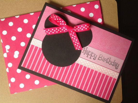 Handmade Minnie Mouse Birthday Card Minnie By Pinkypromisebargains