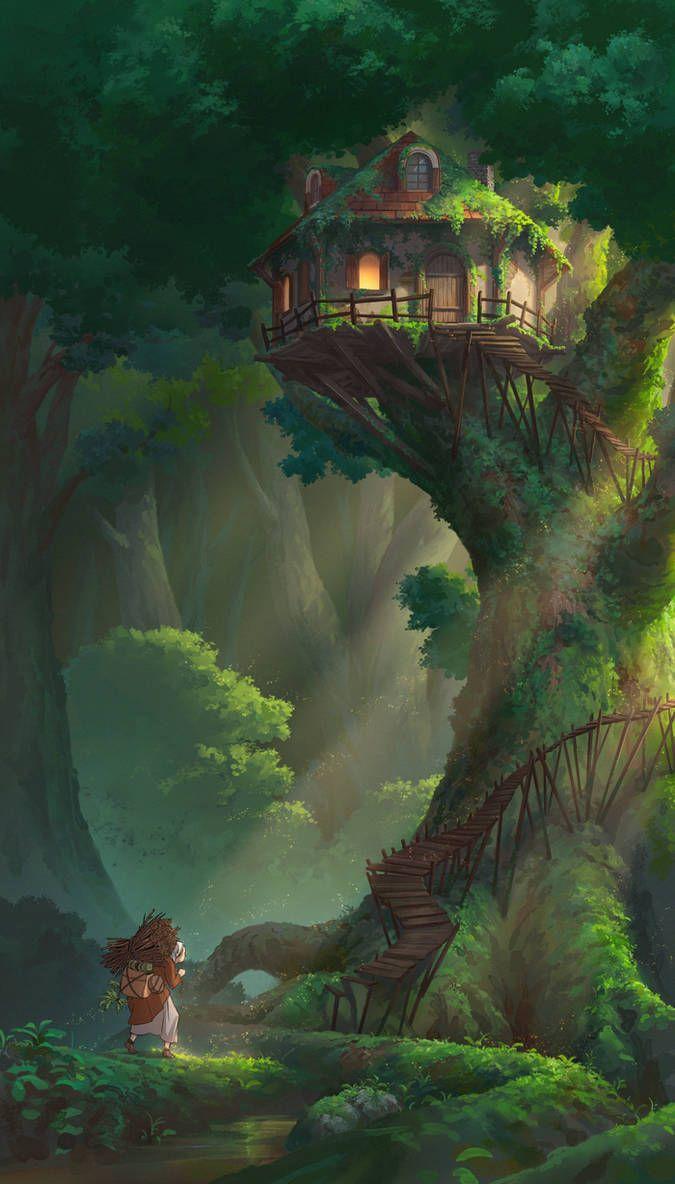 ツリーハウス ファンタジーな風景 アニメの風景 建物 イラスト