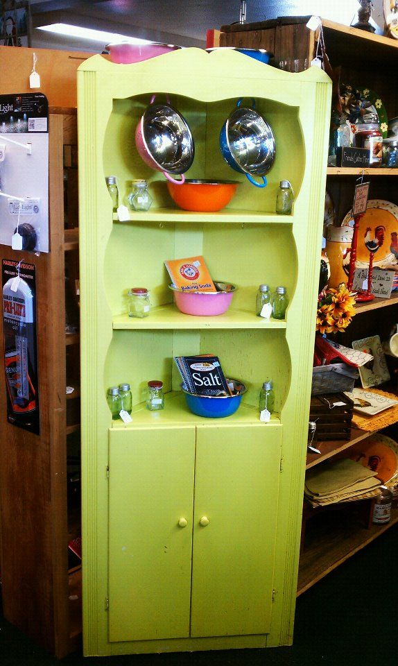 Retro Green Corner Cabinet at Peddler's Corner Antiques in Bedford, IN. The  cabinet sold, but the New retro dishes are still for sale - Retro Green Corner Cabinet At Peddler's Corner Antiques In Bedford