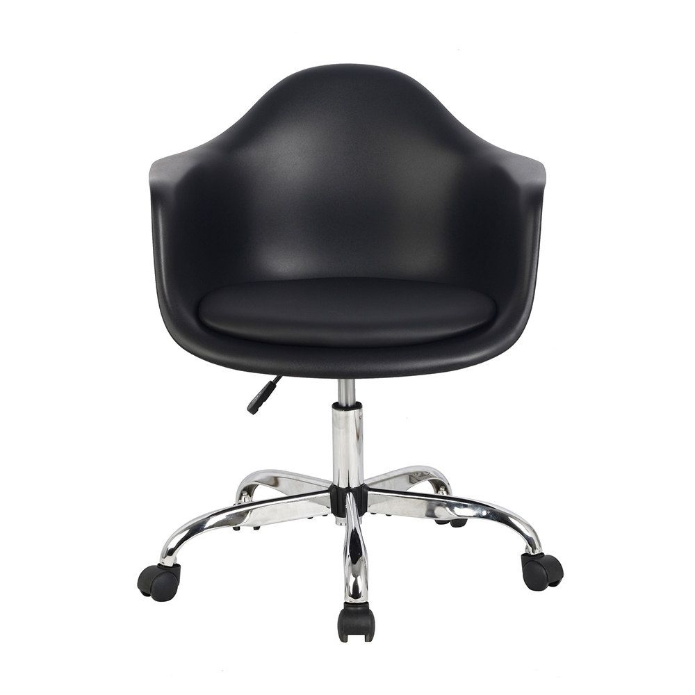 Shop Hodedah Import Hic401 Black Bucket Chair With Wheels At The