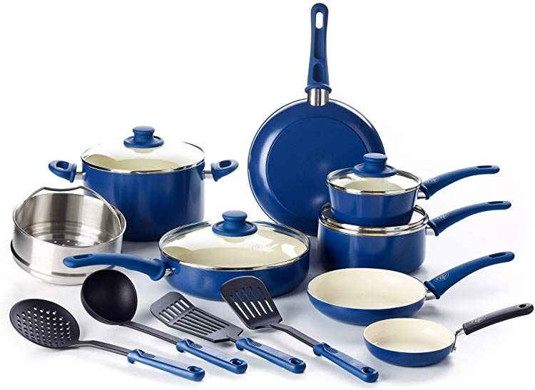 Amazon Com Greenlife Navy Blue With Images Cookware Set