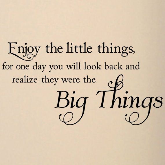 Enjoy the little things, for one day you will look back and realize they were the Big Things  vinyl lettering wall decal sticker