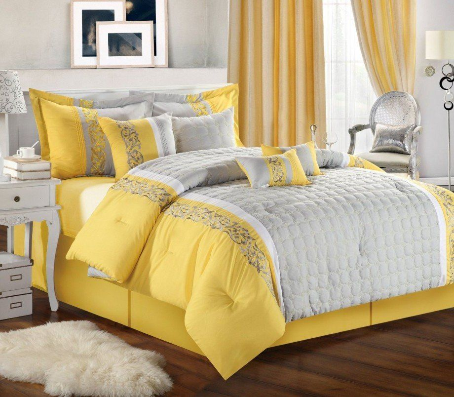 Grey And Yellow Bedding For White Bedroom Decororations Ideas
