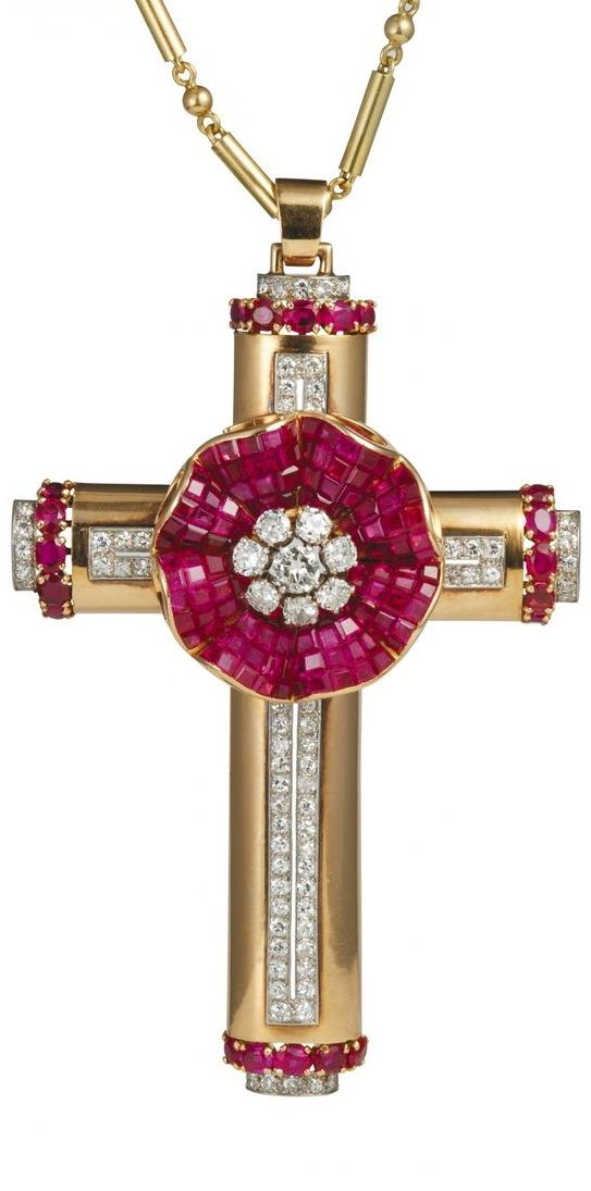 A Gold, Diamond and Ruby Cross Necklace by Kirby Beard & Co.