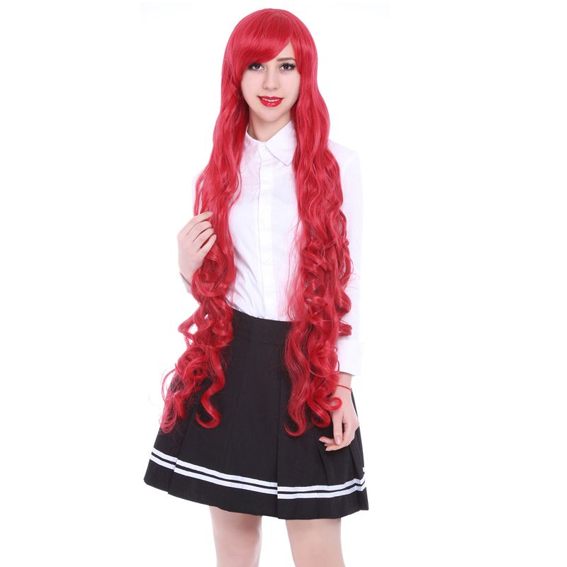 Free Shipping 100cm Synthetic Hair Long Curly White Blonde Pink